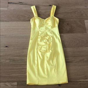 Yellow knee length dress graduation prom wedding